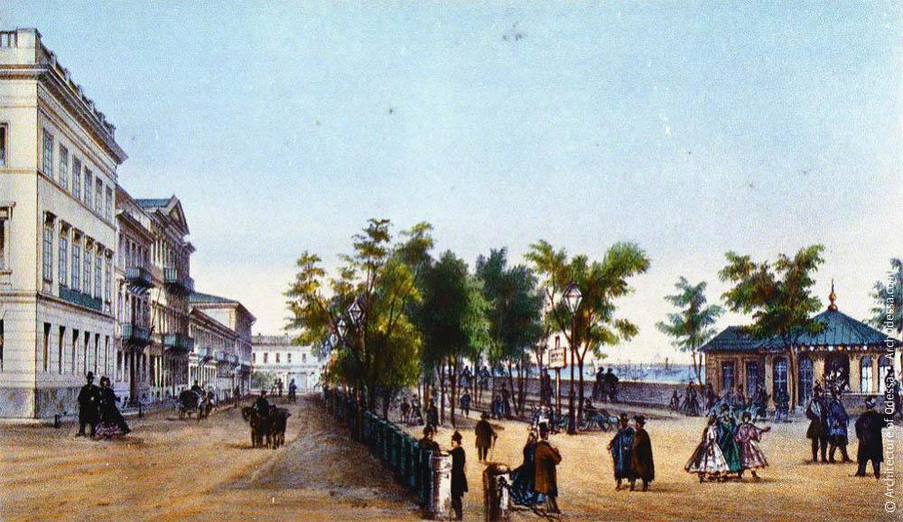 Городской буфет и полукруглая площадь в 1870-х
