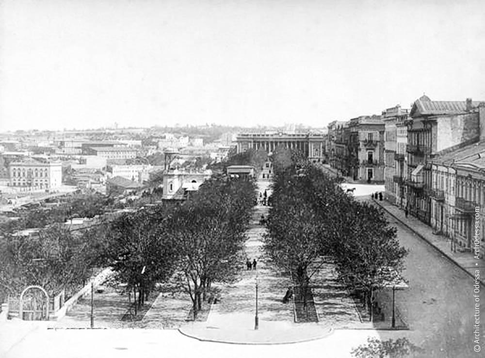 Бульвар с крыши Воронцовского дворца, 1890-е года в Одессе