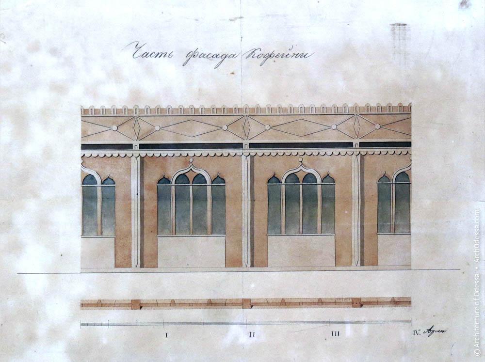 Фрагмент фасада павильона Келля согласно нереализованному проекту Ф. О. Моранди в 1875 году