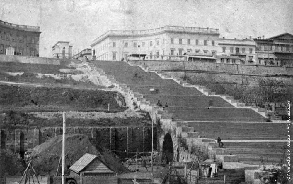 Вид лестницы в 1860-е в Одессе
