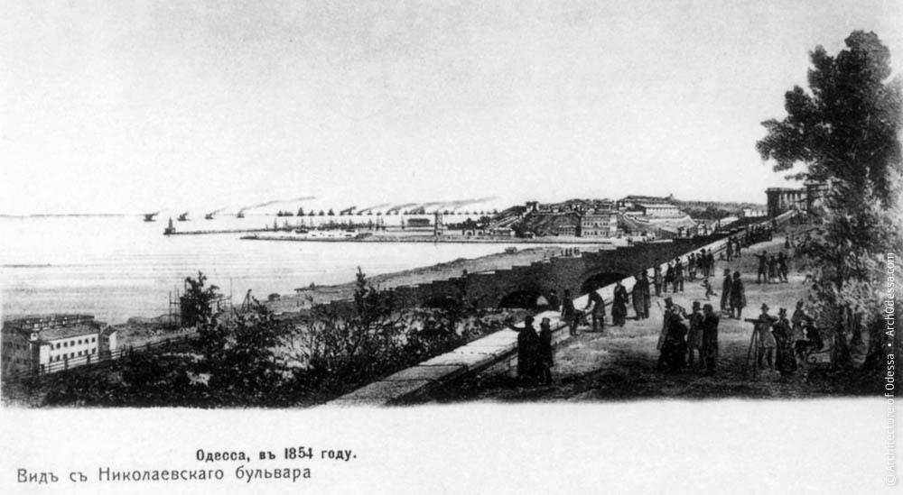 Приморский бульвар и место будущего ресторана в 1859 году