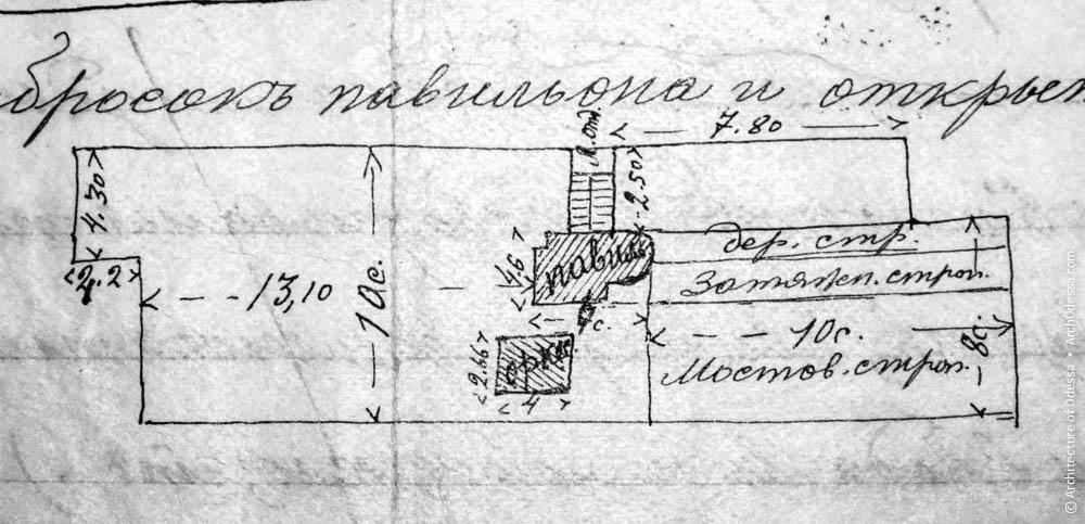 Схема расположения строений рыбного ресторана в Одессе, в тексте описи 1905 г.