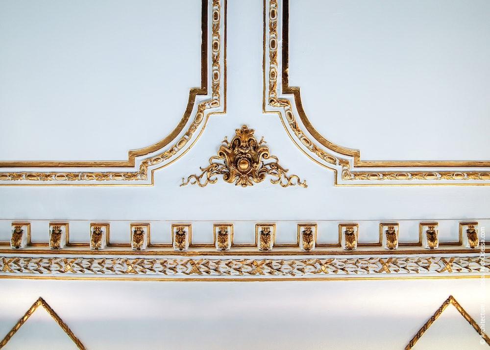Фрагмент карниза и деталь потолочной лепки