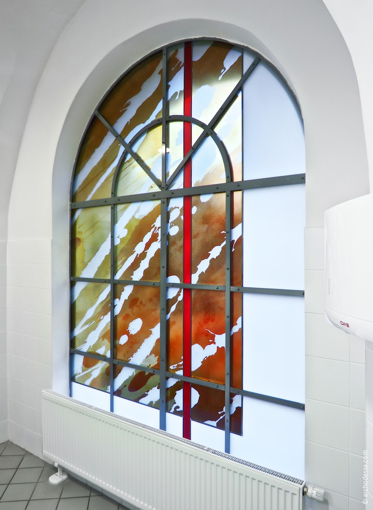 Stained  glass in the utility services room