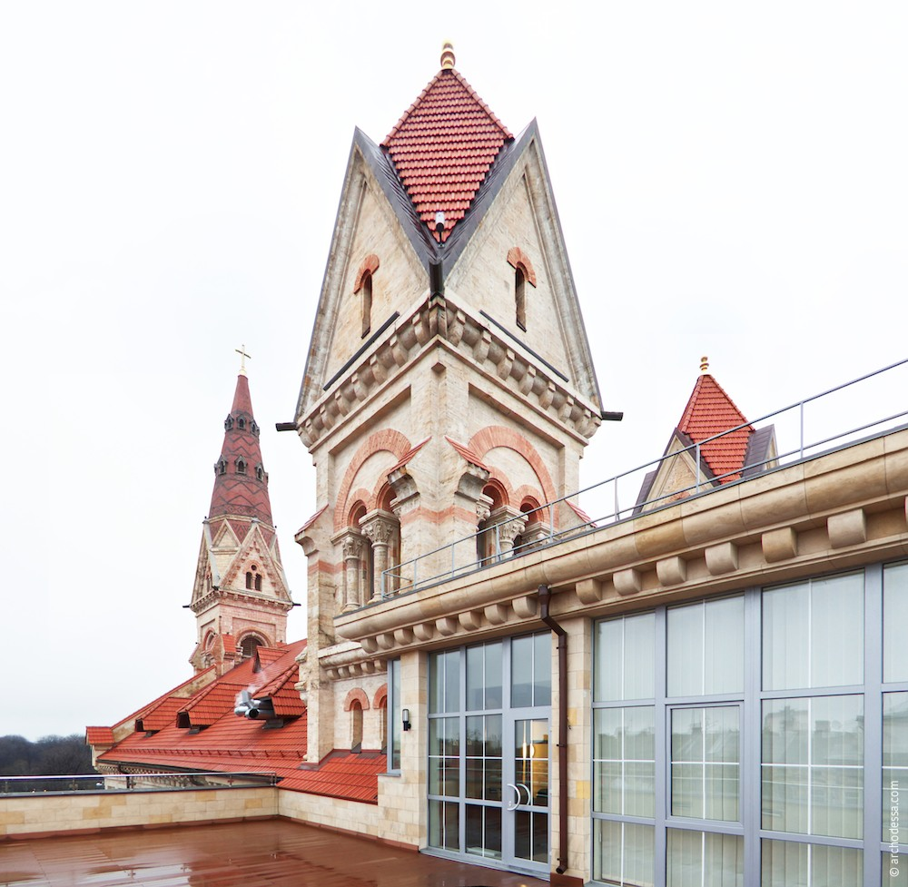 Right-side tower from the new wing roof