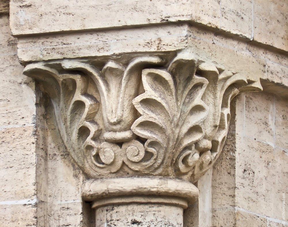 Decorative semi column, capital