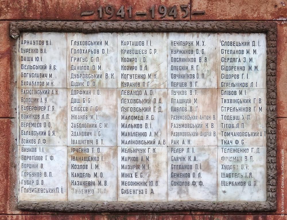 Основна дошка на чоловому боці монумента зі списками працівників заводу, загиблих в роки Великої Вітчизняної війни.
