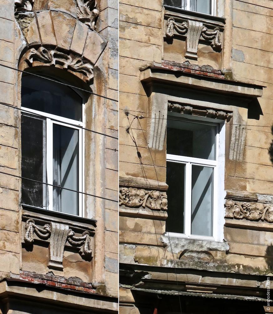 Fenster im Risalit, 2. und 3. Stock (von links nach rechts), Marazlijewskaja-Straße