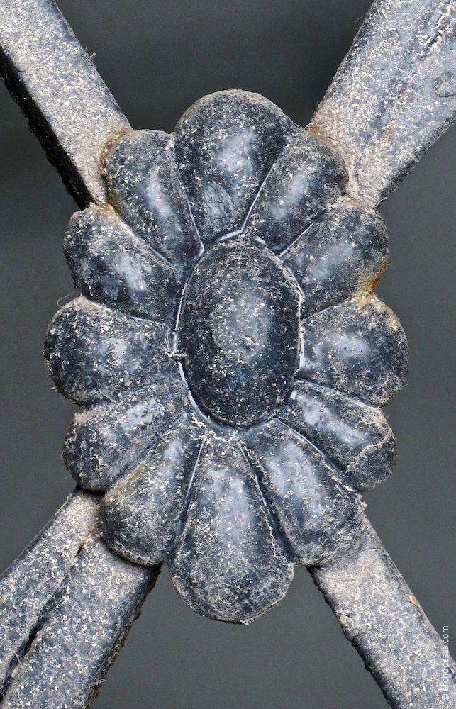 Florales Element in der Mitte des schmiedeeisernen Medaillons