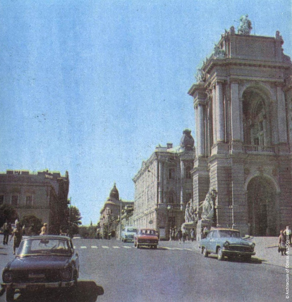 Вид главного входа в театр с Ланжероновской, 1972 г.