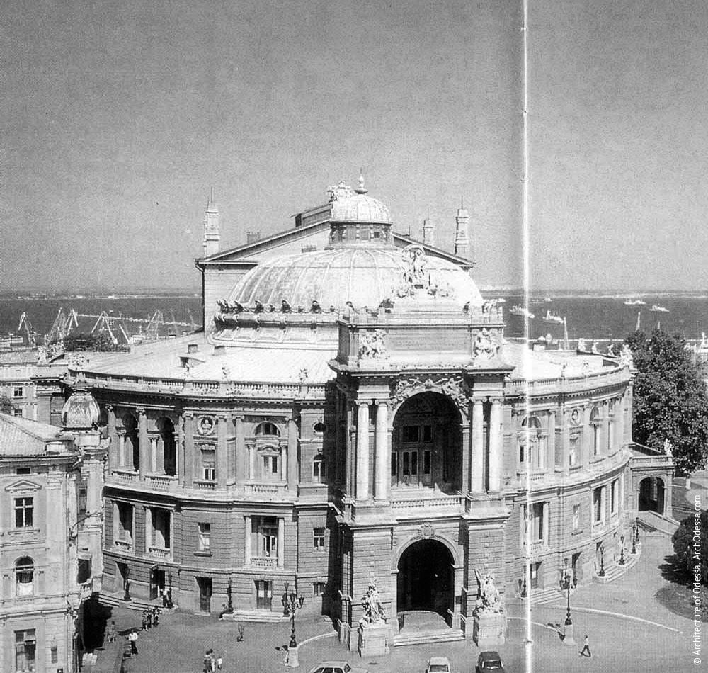 Вид театра с крыши здания по Ришельевской, 4, 1980 г.
