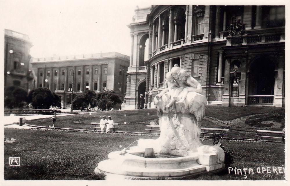 Фонтан-скульптура «Молодость» на румынской открытке периода оккупации