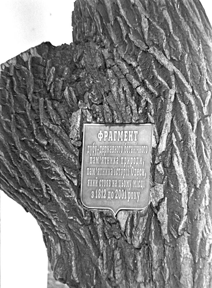 Памятник «Пушкинскому дубу» на месте спиленного дерева, пояснительная табличка