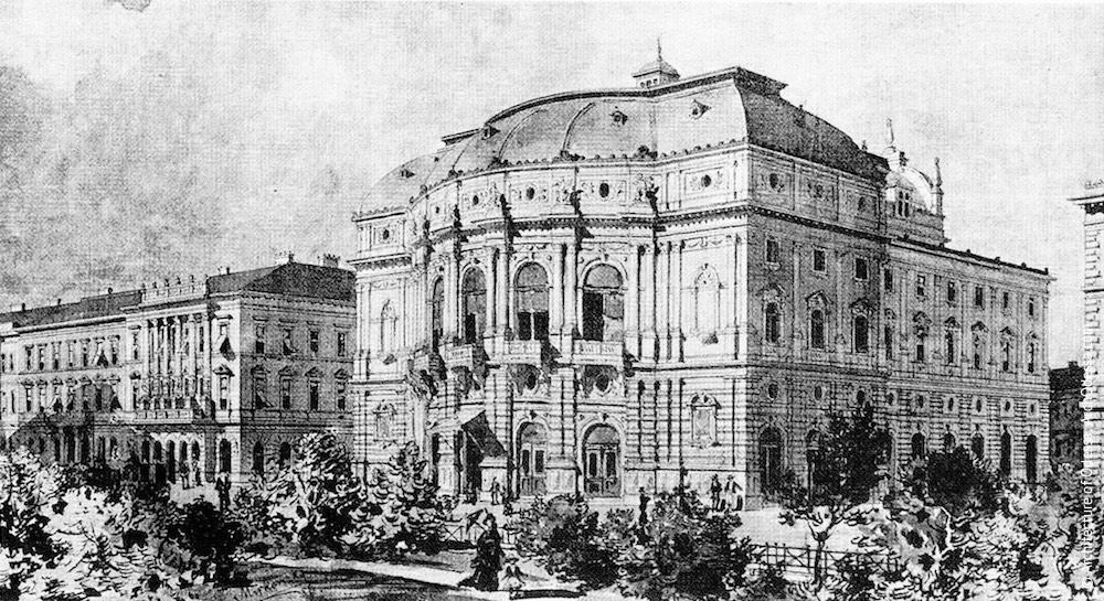 Национальный театр в Сегеде, Венгрия (арх. Г. Гельмер, Ф. Фельнер, 1883 г.) Оригинальная композиция здания компонуется вокруг полуротонды главного фасада, где расположено огибающее зрительный зал фойе.