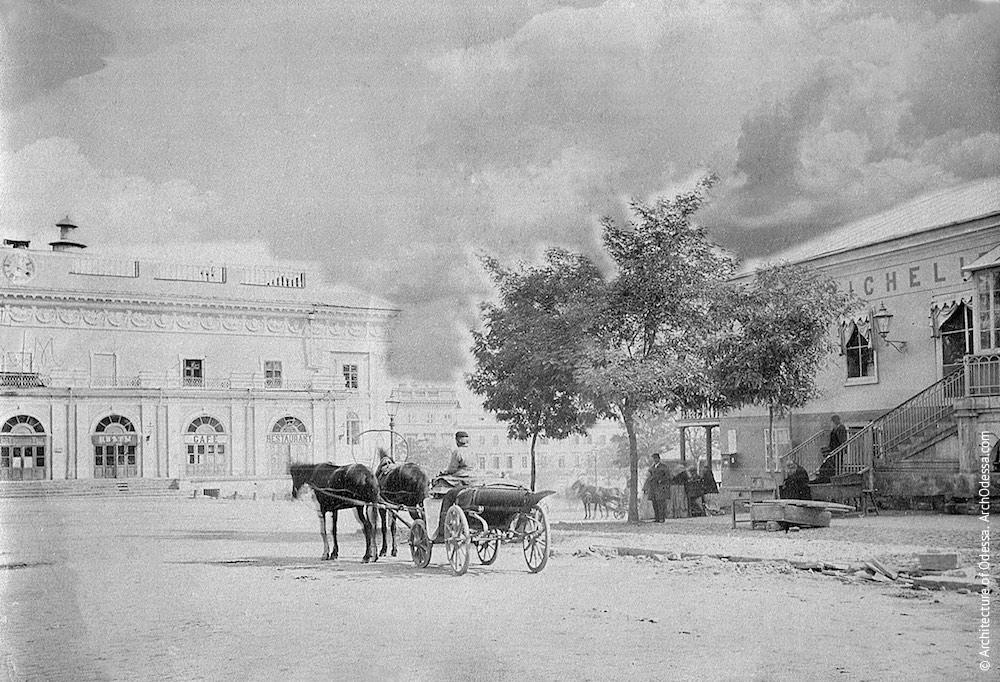 Оперный театр. Вид на театр и Театральную площадь с Ришельевской, конец 1860-х г.г.
