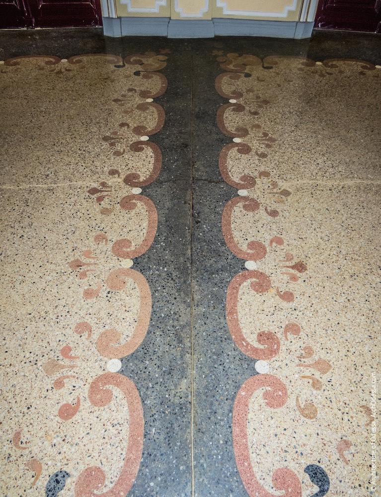 Фрагмент бетоно-мозаичного пола