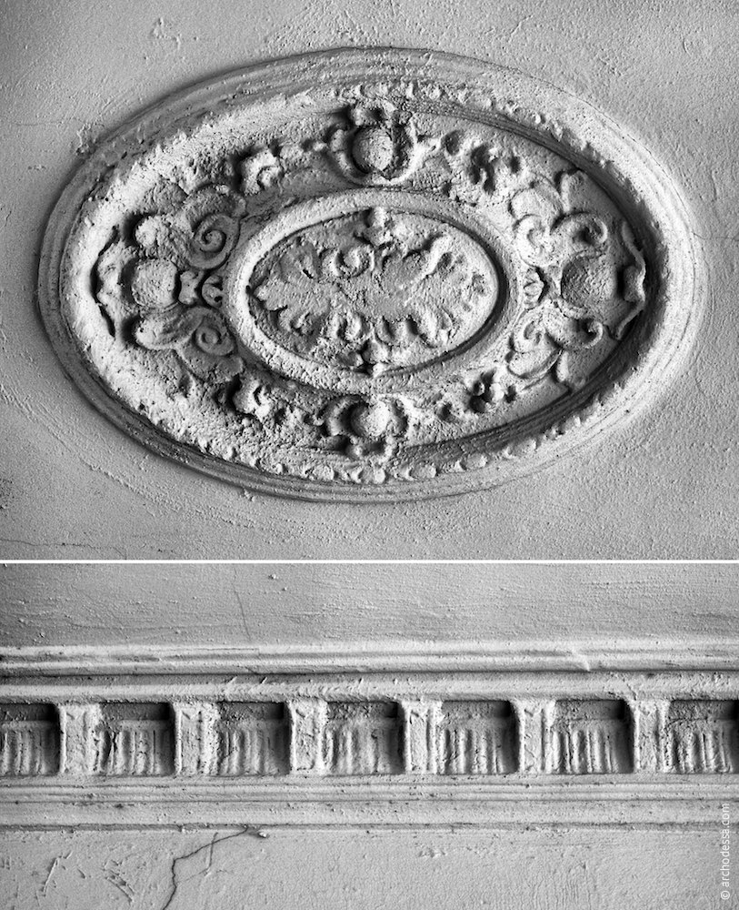 Ceiling of the staircase, moulded details  — rosette and cornice