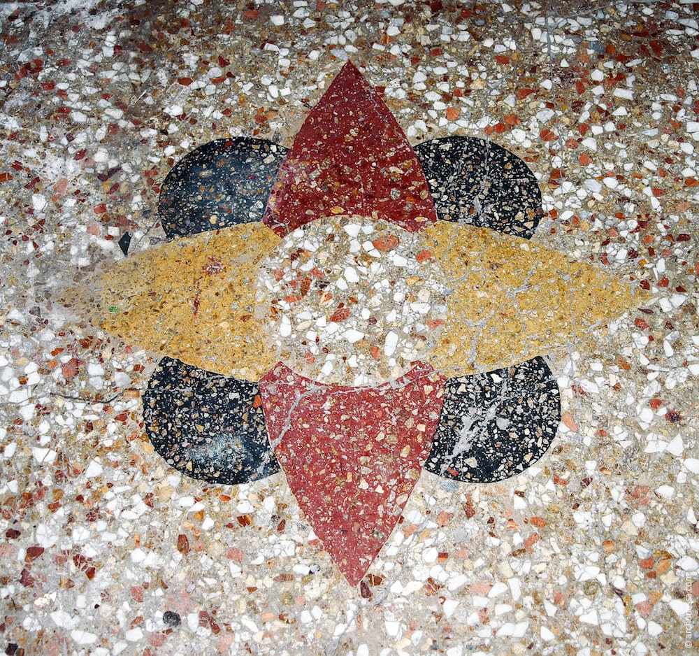Concrete-mosaic ornament on one of the apartment platforms
