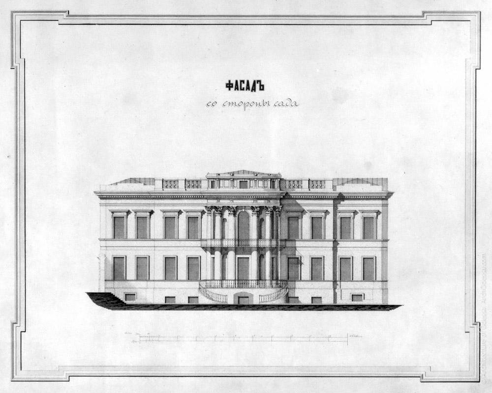 Чертеж фасада Старого дворца, выходящего в Летний сад после перестройки (1880-е г.г.)