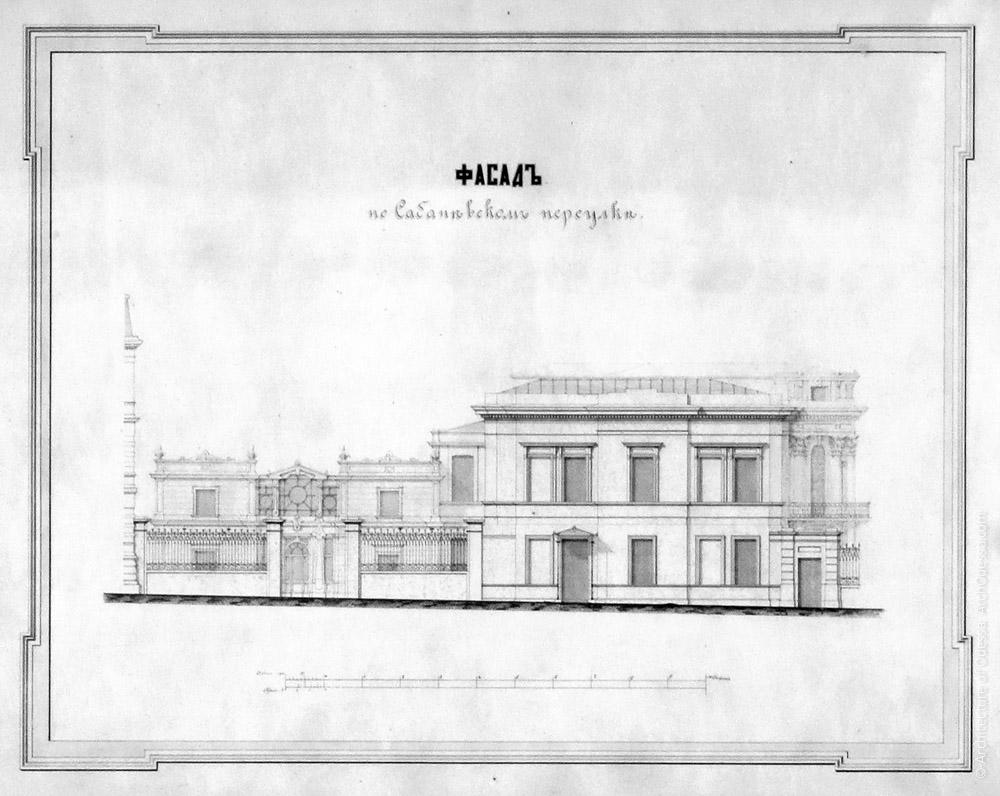Чертеж фасада Старого дворца, выходящего на красную линию Сабанеева моста. В глубине участка виден сооруженный Гонсиоровским флигель (1880-е г.г.)