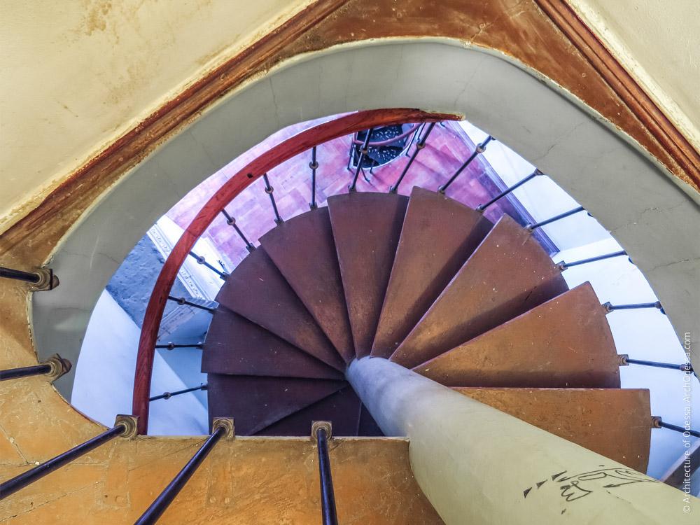 Винтовая лестница, ведущая на антрессоли, вид сверху вниз